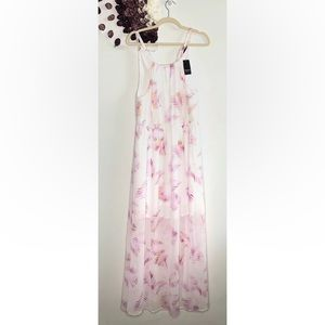 Torrid Long White with Feather Graphics Maxi Dress